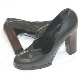 GUCCI Smokegun Gray Leather Platform Pumps Heels S